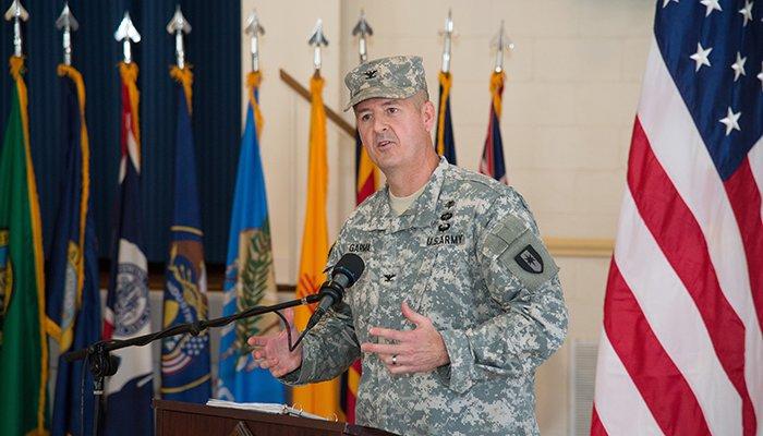 Col. Patrick Garman Commander of the 1st Area Medical Laboratory