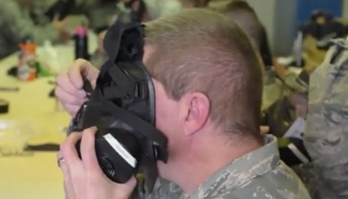 173rd Fighter Wing Members Practice Donning Gas Masks