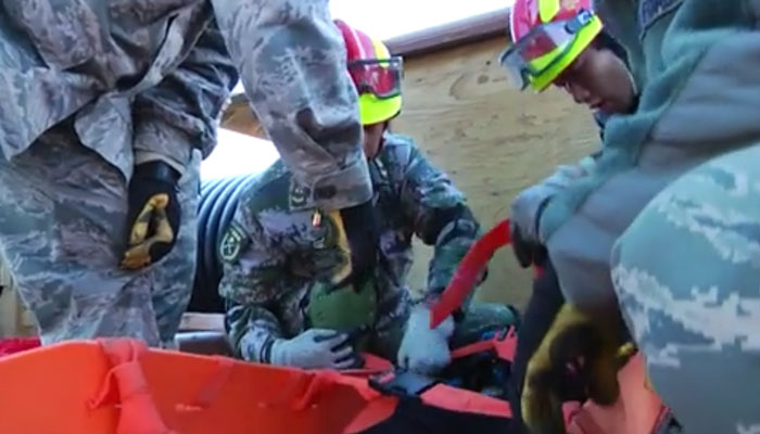 U.S., Chinese Soldiers During Emergency Management Exchange