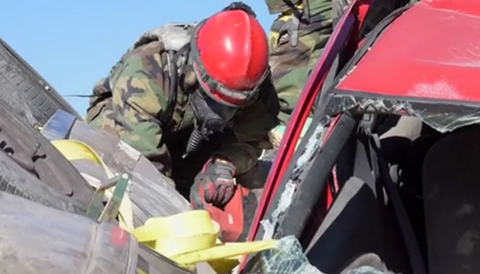 Military and Civilian Firefighters Conduct CBRN Training
