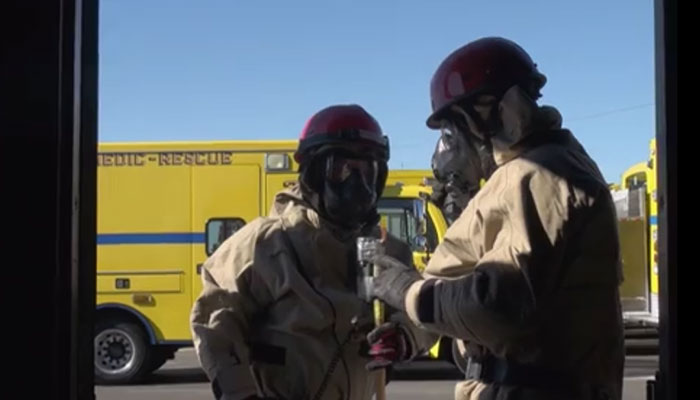 Military and Civilian Firefighters Conduct CBRN SAR Training