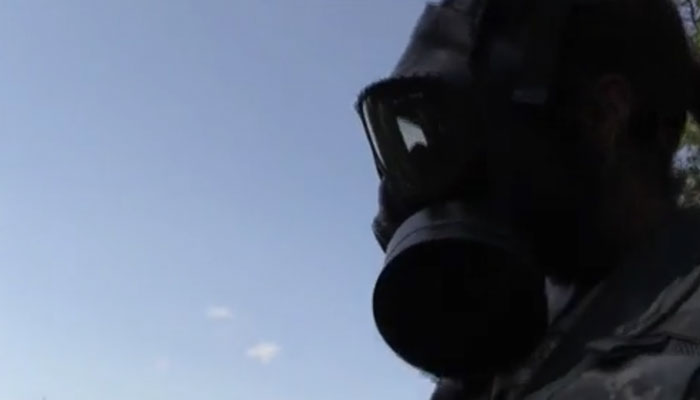 CBRN Soldier at Red Dragon Training Exercise