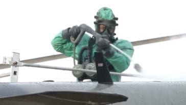 Romanian CBRN Troops Conduct Aircraft Decontamination