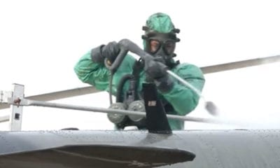 Romanian CBRN Troops Conduct Aircraft Decontamination