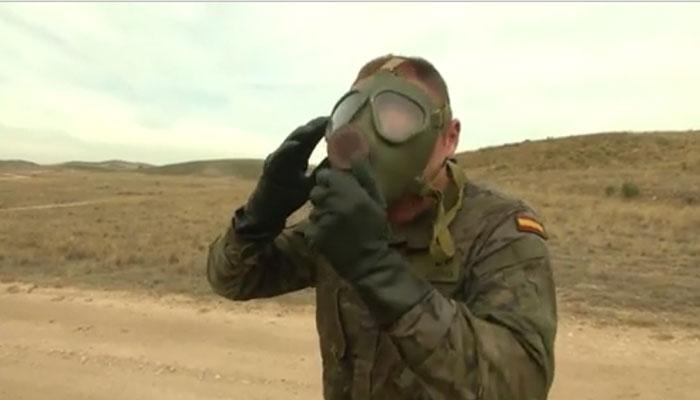 Spanish CBRN Soldiers Practice Decontamination Procedures