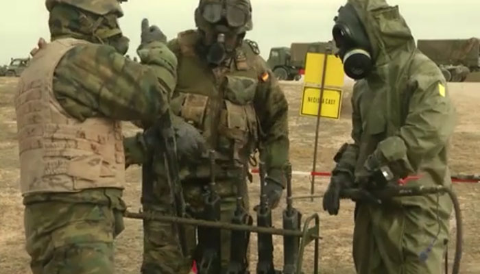 Spain CBRN Troops Conduct Decontamination Exercise