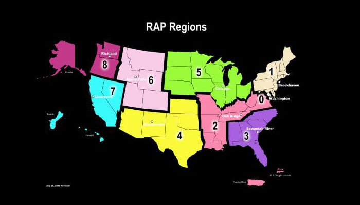 Radiological Assistance Program (RAP) Region Map
