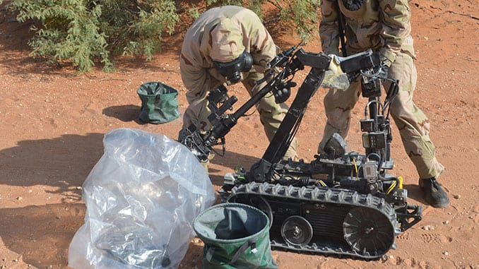 CBRN Soldiers Decontaminate Talon Robot