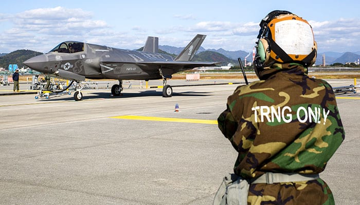 USMC F-35B Lightning Hot Refuel Wearing MOPP Level 4 Gear