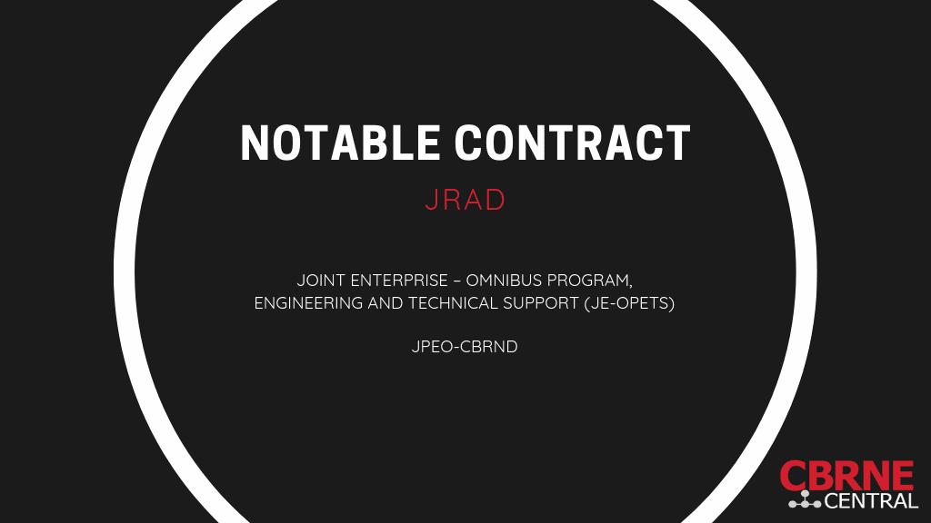 JE OPETS Contract Award to JRAD - JPEO CBRND