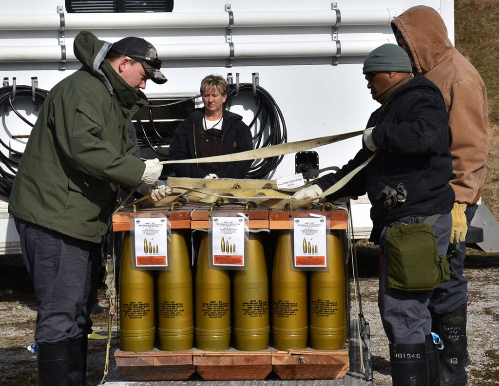 Securing Munitions on Pallet at Blue Grass Chemical Activity During Training