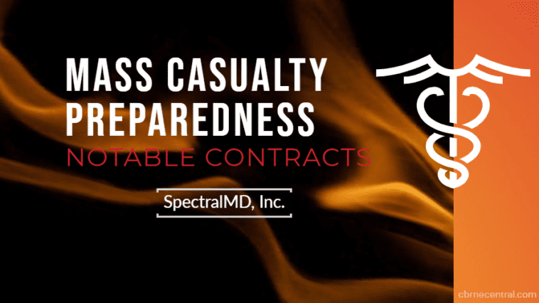 Text banner announcing mass casualty preparedness contract award to SpectralMD