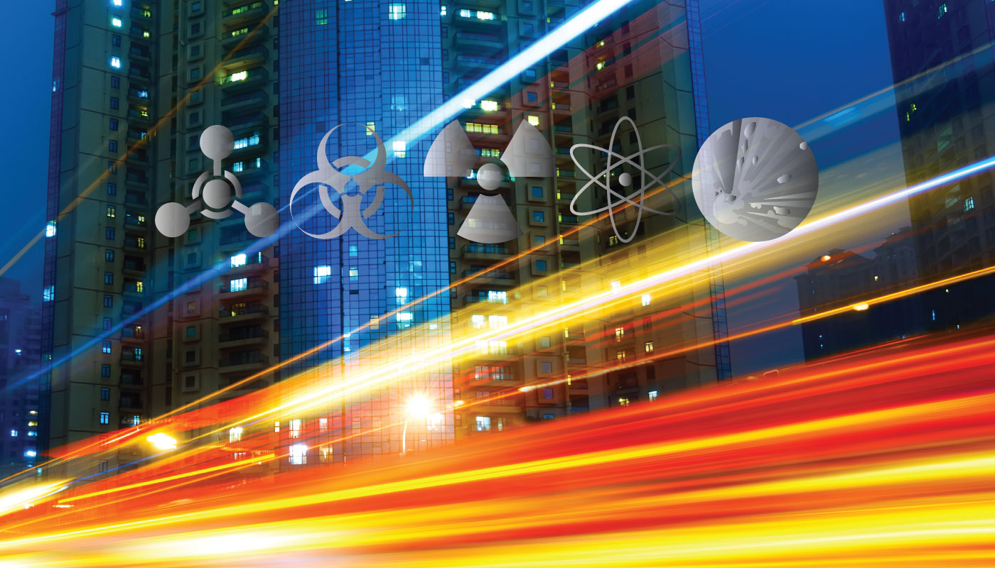 Chemical, Biological, Radiological, Nuclear and Explosive threat symbols on cityscape backdrop