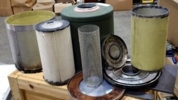 Collection of disassembled filters