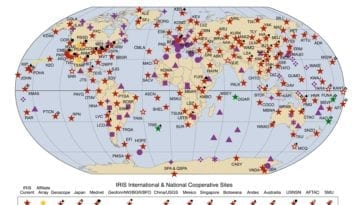 global map showing national and international cooperative seismic network sites