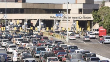 Cars lined up at the Tijuana border check